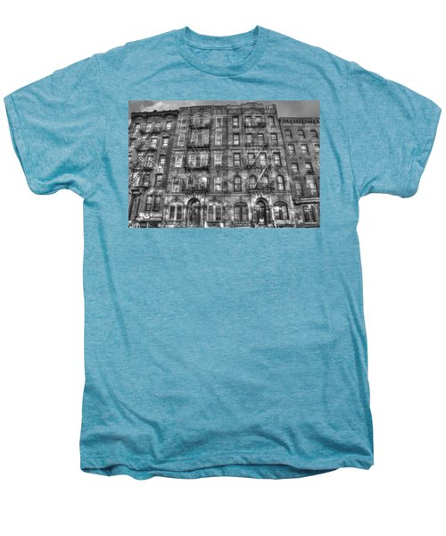 Led Zeppelin Physical Graffiti Building In Black And White Men's Premium T-Shirt by Randy Aveille