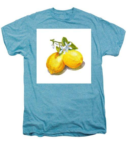 Men's Premium T-Shirt featuring the painting Lemons And Blossoms by Irina Sztukowski