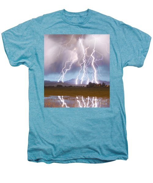 Lightning Striking Longs Peak Foothills 4c Men's Premium T-Shirt