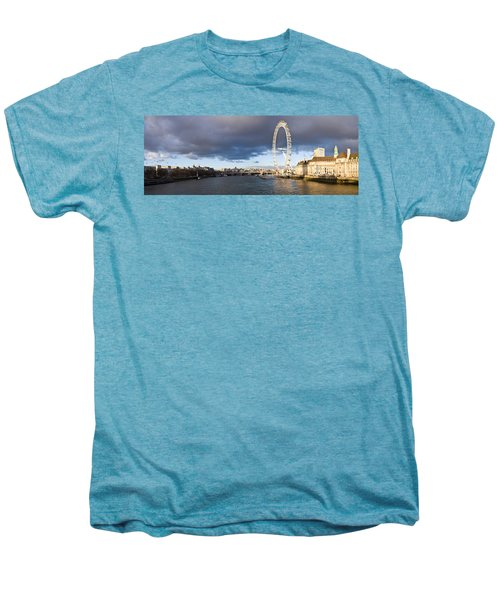 London Eye At South Bank, Thames River Men's Premium T-Shirt by Panoramic Images