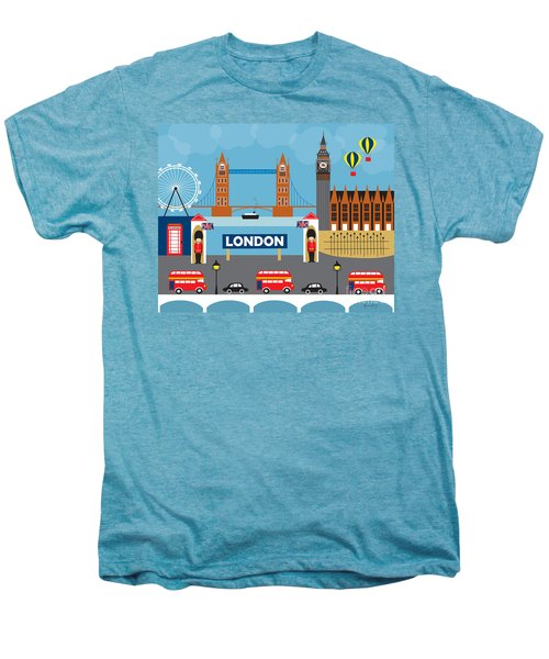 London England Skyline By Loose Petals Men's Premium T-Shirt by Karen Young