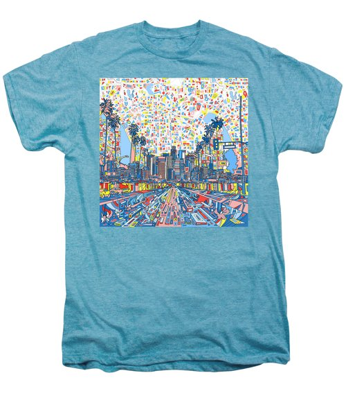 Los Angeles Skyline Abstract 3 Men's Premium T-Shirt by Bekim Art