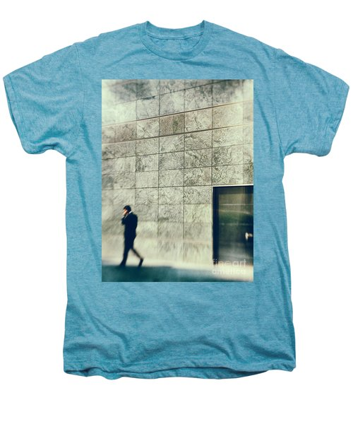 Men's Premium T-Shirt featuring the photograph Man With Cell Phone by Silvia Ganora