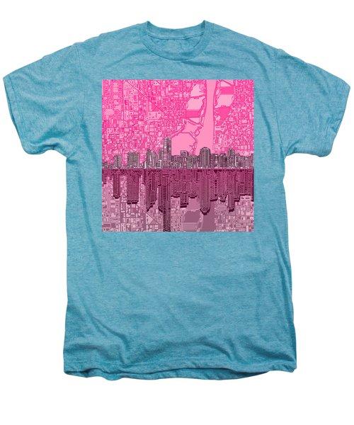 Miami Skyline Abstract 4 Men's Premium T-Shirt by Bekim Art