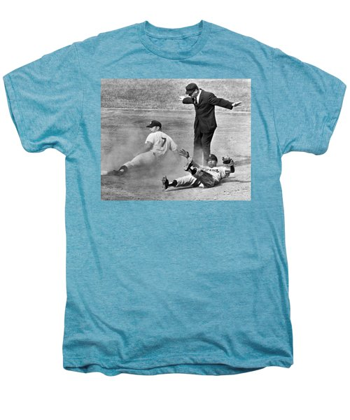 Mickey Mantle Steals Second Men's Premium T-Shirt by Underwood Archives