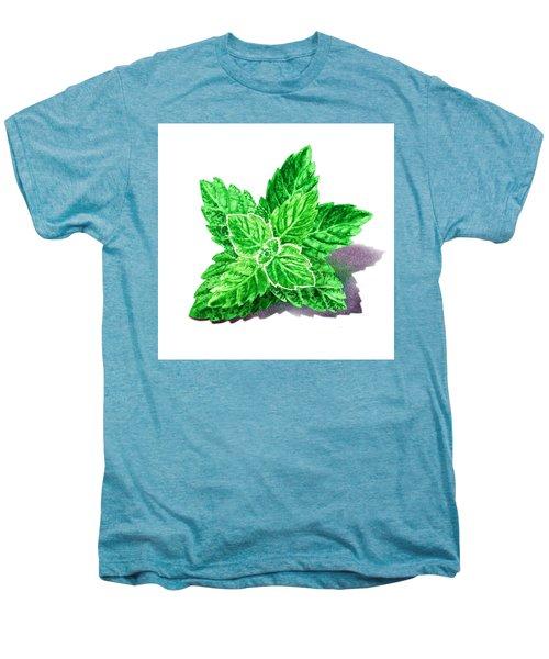 Men's Premium T-Shirt featuring the painting Mint Leaves by Irina Sztukowski