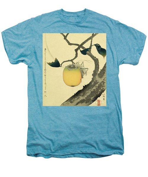 Moon Persimmon And Grasshopper Men's Premium T-Shirt by Katsushika Hokusai