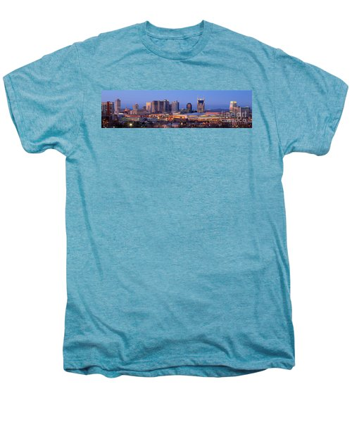 Nashville Skyline At Dusk Panorama Color Men's Premium T-Shirt by Jon Holiday