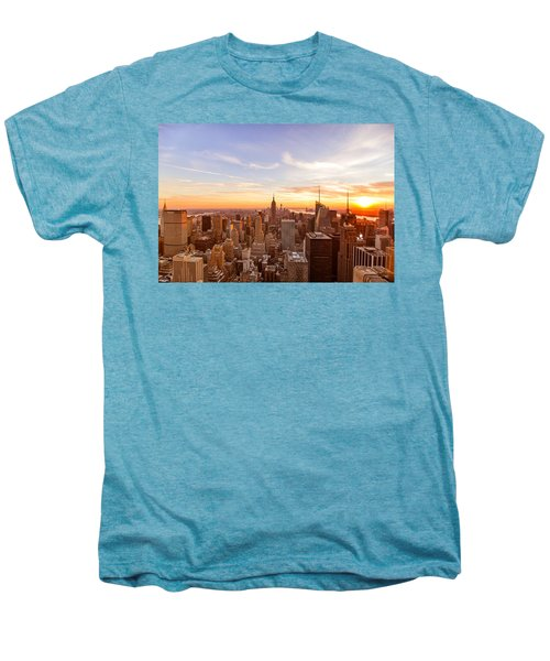 New York City - Sunset Skyline Men's Premium T-Shirt by Vivienne Gucwa