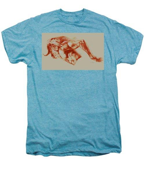 North American Minotaur Red Sketch Men's Premium T-Shirt by Derrick Higgins