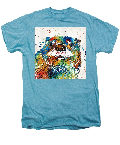 Otter Art - Ottertude - By Sharon Cummings Men's Premium T-Shirt by Sharon Cummings