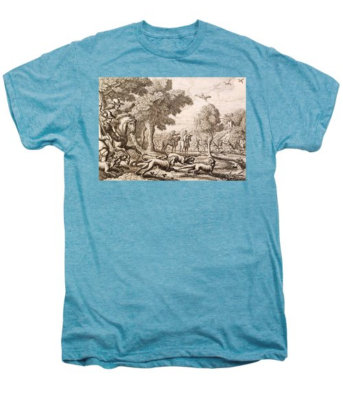 Otter Hunting By A River, Engraved Men's Premium T-Shirt by Francis Barlow