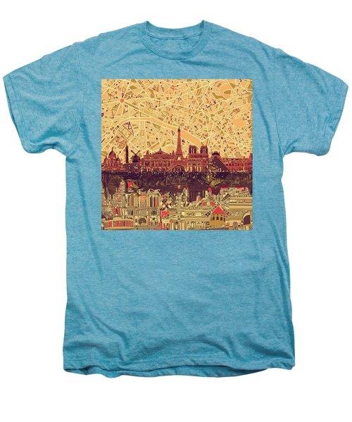 Paris Skyline Abstract Sepia Men's Premium T-Shirt