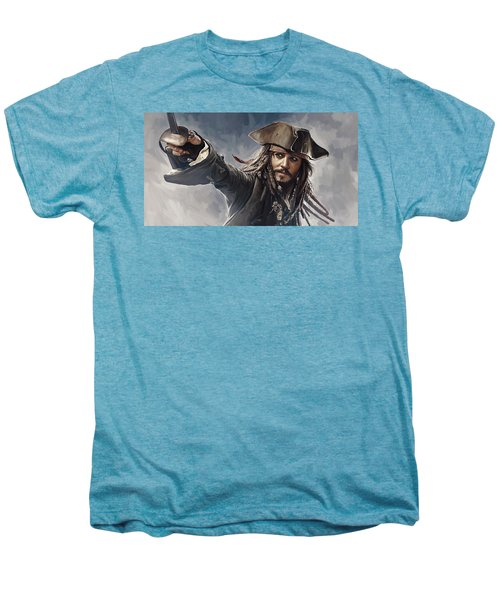 Pirates Of The Caribbean Johnny Depp Artwork 2 Men's Premium T-Shirt by Sheraz A