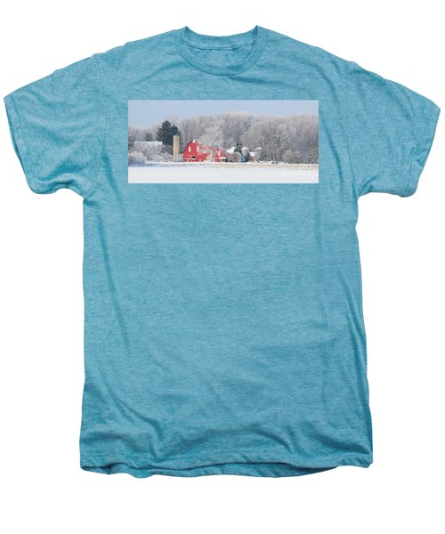 Red Barn Frosty Morning Panorama1 Men's Premium T-Shirt by Jack Schultz