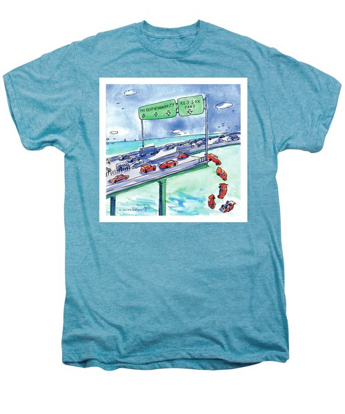 Red Cars Drop Off A Bridge Under A Sign That Says Men's Premium T-Shirt by Michael Crawford