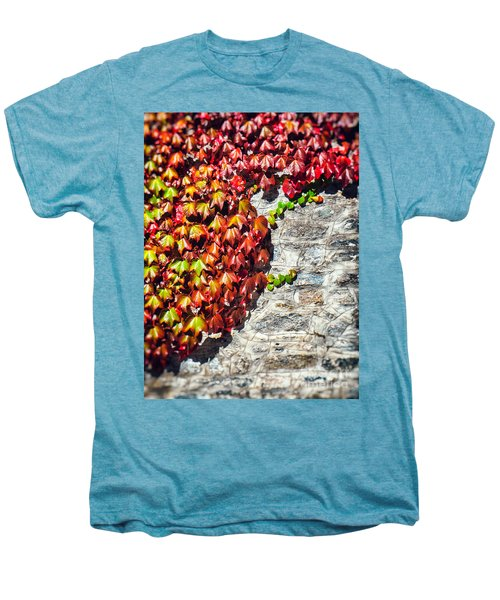 Men's Premium T-Shirt featuring the photograph Red Ivy On Wall by Silvia Ganora