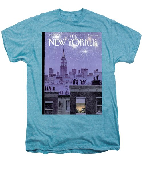 Rooftop Revelers Celebrate New Year's Eve Men's Premium T-Shirt