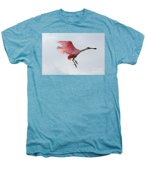 Roseate Spoonbill In Flight Men's Premium T-Shirt by Carol Groenen