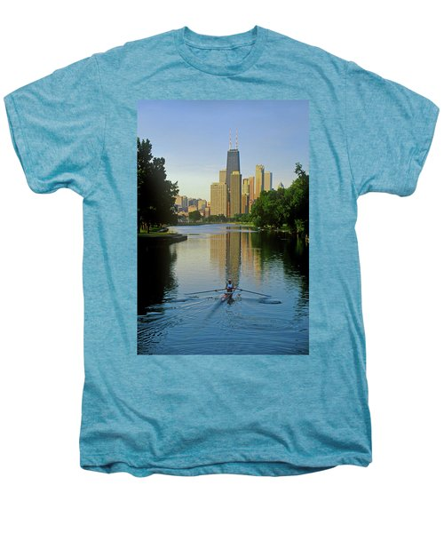 Rower On Chicago River With Skyline Men's Premium T-Shirt