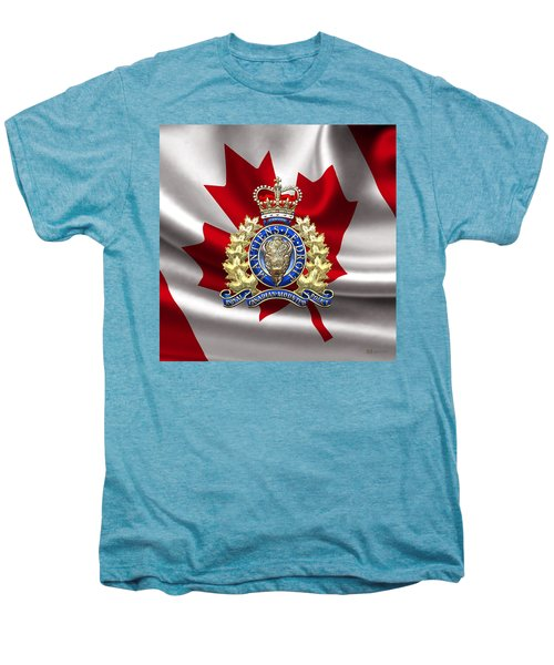 Royal Canadian Mounted Police - Rcmp Badge Over Waving Flag Men's Premium T-Shirt by Serge Averbukh