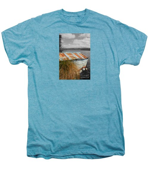 Men's Premium T-Shirt featuring the photograph Rusty Boatshed On Lake. by Nareeta Martin