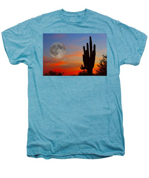Saguaro Full Moon Sunset Men's Premium T-Shirt
