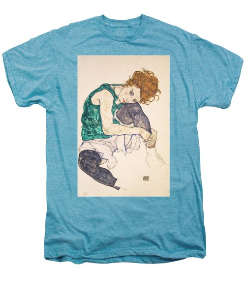 Seated Woman With Legs Drawn Up. Adele Herms Men's Premium T-Shirt by Egon Schiele