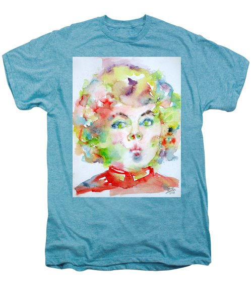 Shirley Temple - Watercolor Portrait.2 Men's Premium T-Shirt by Fabrizio Cassetta