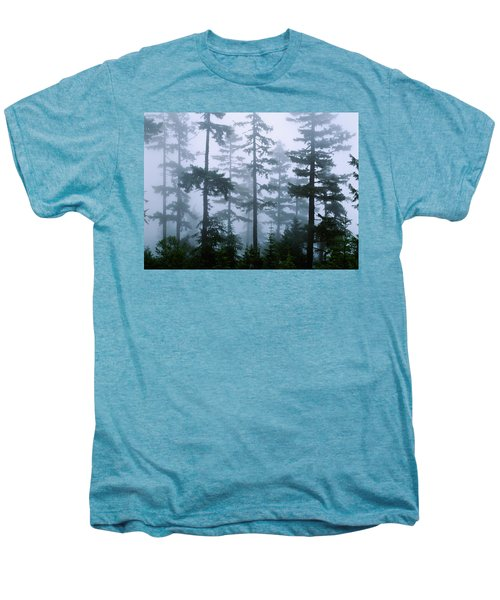 Silhouette Of Trees With Fog Men's Premium T-Shirt
