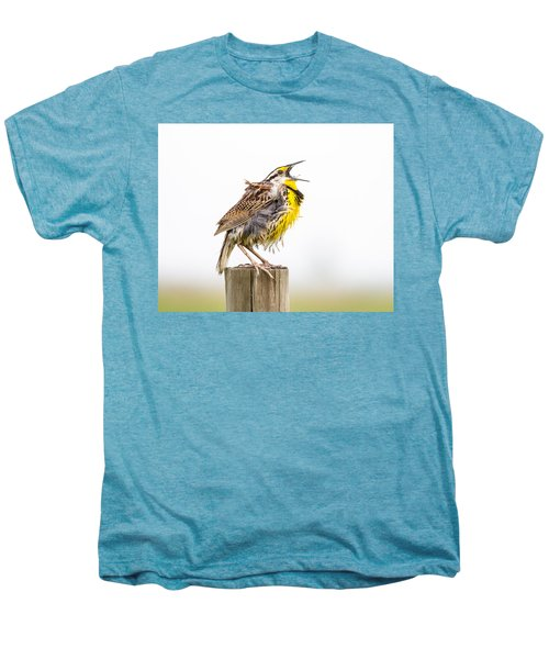 Singing Meadowlark 3rd Of 3 Men's Premium T-Shirt by Bill Swindaman