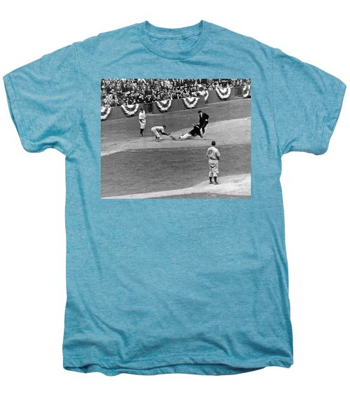 Spud Chandler Is Out At Third In The Second Game Of The 1941 Wor Men's Premium T-Shirt by Underwood Archives