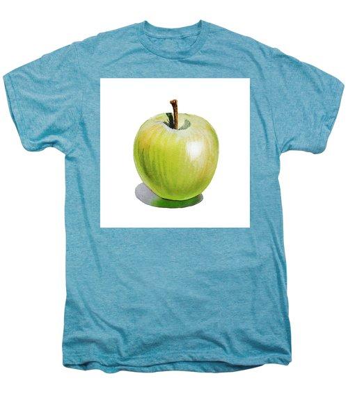 Men's Premium T-Shirt featuring the painting Sun Kissed Green Apple by Irina Sztukowski