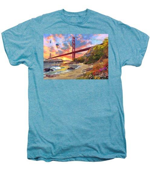Sunset At Golden Gate Men's Premium T-Shirt