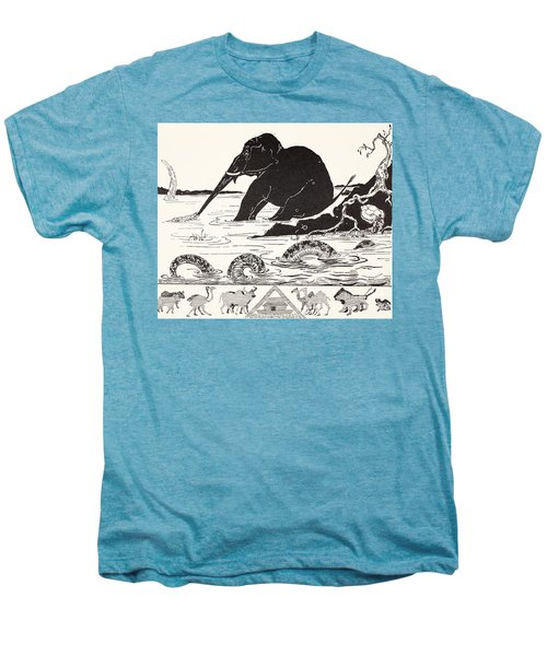 The Elephant's Child Having His Nose Pulled By The Crocodile Men's Premium T-Shirt by Joseph Rudyard Kipling