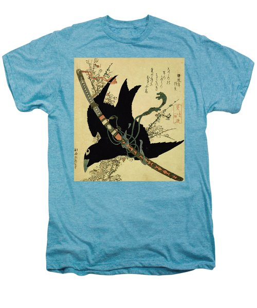 The Little Raven With The Minamoto Clan Sword Men's Premium T-Shirt by Katsushika Hokusai