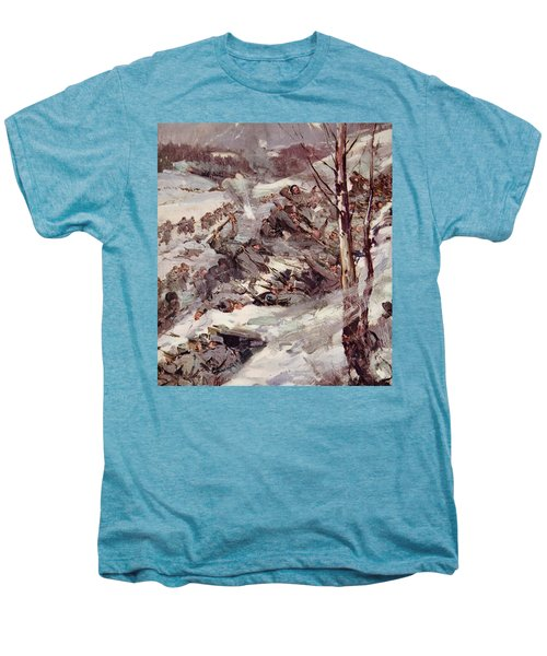 The Russians Fighting Their Way Over The Carpathians Men's Premium T-Shirt by Cyrus Cuneo