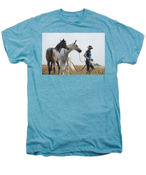 Men's Premium T-Shirt featuring the photograph Three At The Poppies' Field... 1 by Dubi Roman