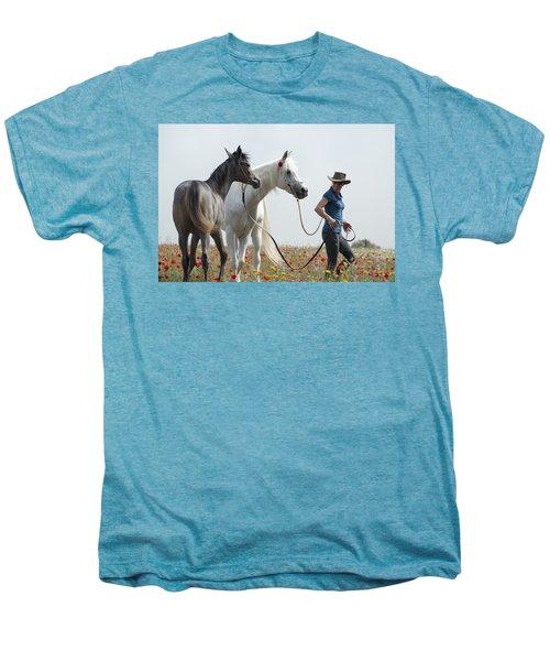 Three At The Poppies' Field... 1 Men's Premium T-Shirt by Dubi Roman