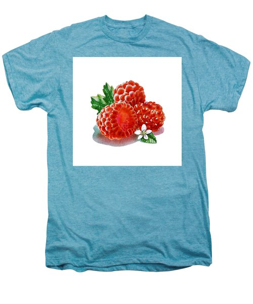Three Happy Raspberries Men's Premium T-Shirt by Irina Sztukowski