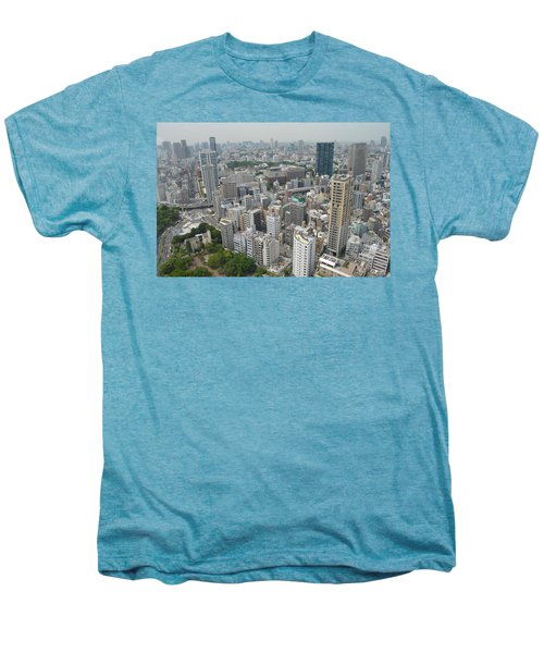 Tokyo Intersection Skyline View From Tokyo Tower Men's Premium T-Shirt by Jeff at JSJ Photography