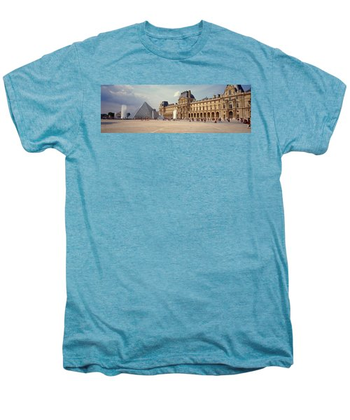 Tourists Near A Pyramid, Louvre Men's Premium T-Shirt by Panoramic Images