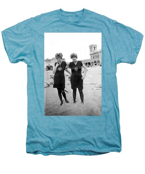 Two Girls At Venice Beach Men's Premium T-Shirt by Underwood Archives