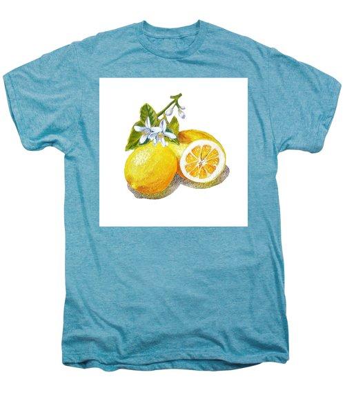 Men's Premium T-Shirt featuring the painting Two Happy Lemons by Irina Sztukowski