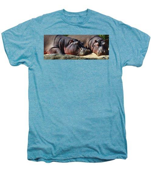 Two Hippos Sleeping On Riverbank Men's Premium T-Shirt