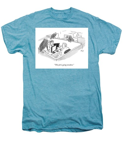 Two Men In A Small Cubicle Speak To Each Other Men's Premium T-Shirt