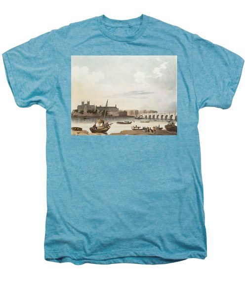 View Of Westminster And The Bridge Wc On Paper Men's Premium T-Shirt by English School