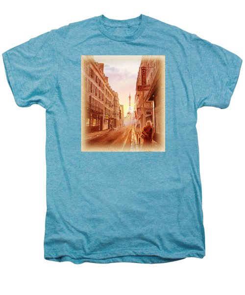 Men's Premium T-Shirt featuring the painting Vintage Paris Street Eiffel Tower View by Irina Sztukowski