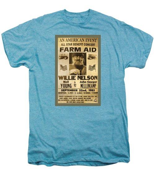 Vintage Willie Nelson 1985 Farm Aid Poster Men's Premium T-Shirt