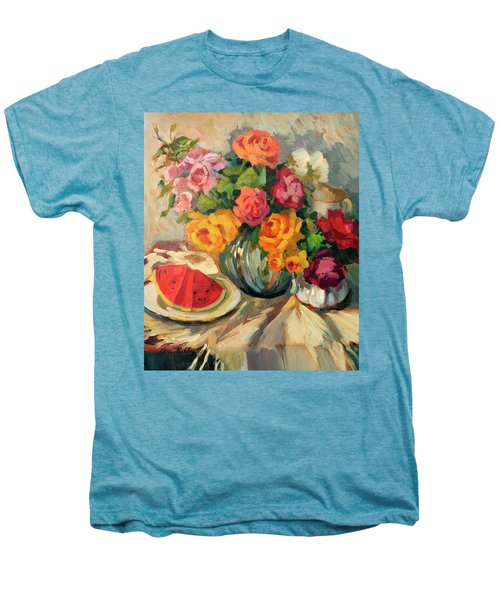 Watermelon And Roses Men's Premium T-Shirt by Diane McClary